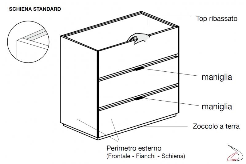 Dettagli tecnici comò 3 cassetti moderno