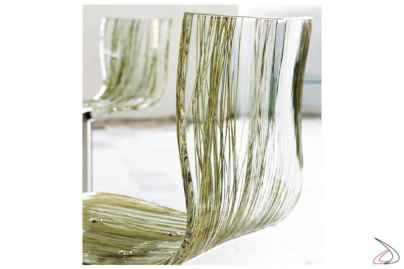 Sgabello di design girevole con seduta in metacrilato trasparente effetto erba