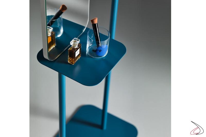 Specchio blu con elemento svuotatasche Babele