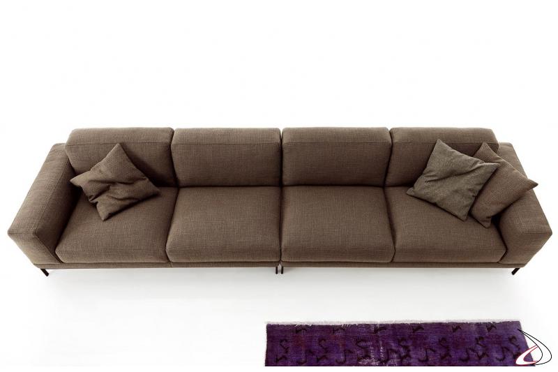 Divano lineare in tessuto da soggiorno