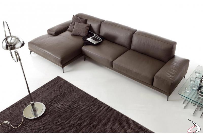 Divano moderno con chaise lounge in pelle da salotto
