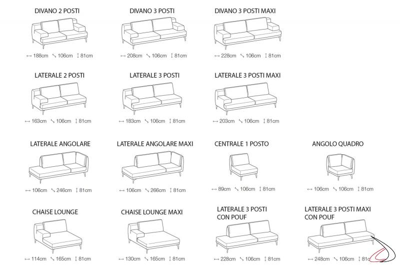 Misure divano design componibile da salotto