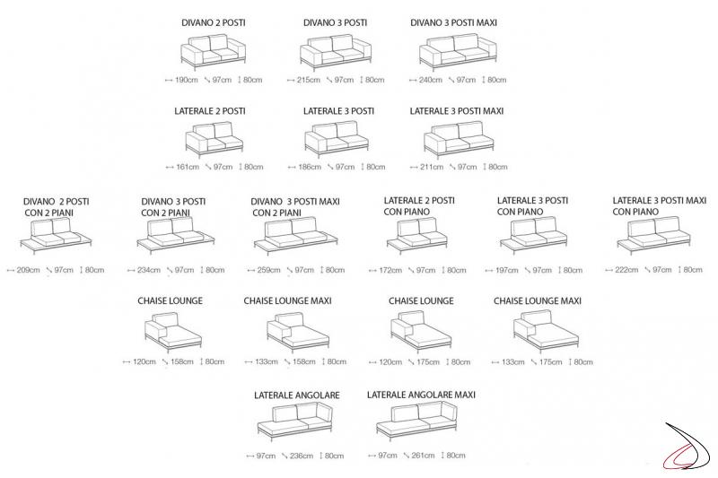 Misure divano design componibile da soggiorno