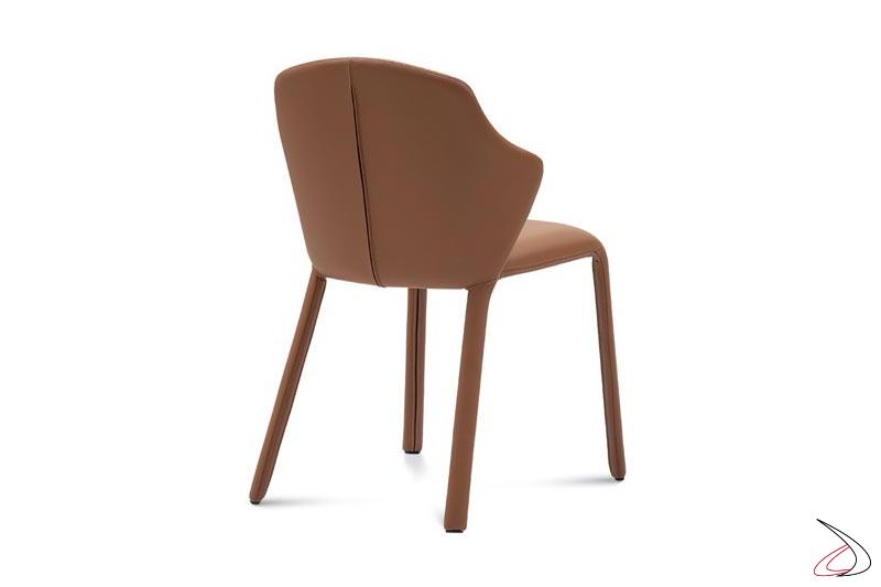 Sedia moderna in pelle imbottita
