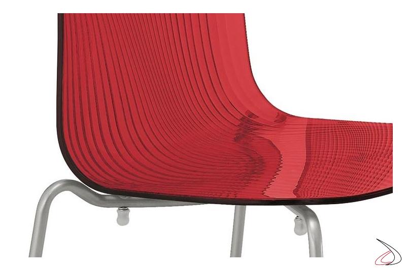 Sedia moderna rossa da soggiorno