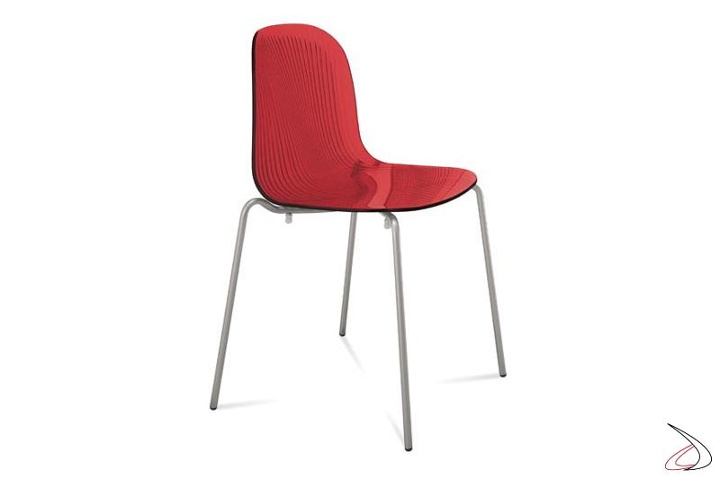 Sedia rossa di design da cucina