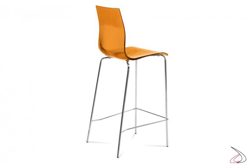 Sgabello moderno arancione alto da arredo bar