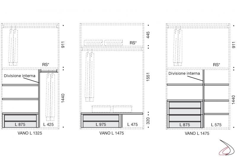Esempi attrezzatura interna armadio scorrevole