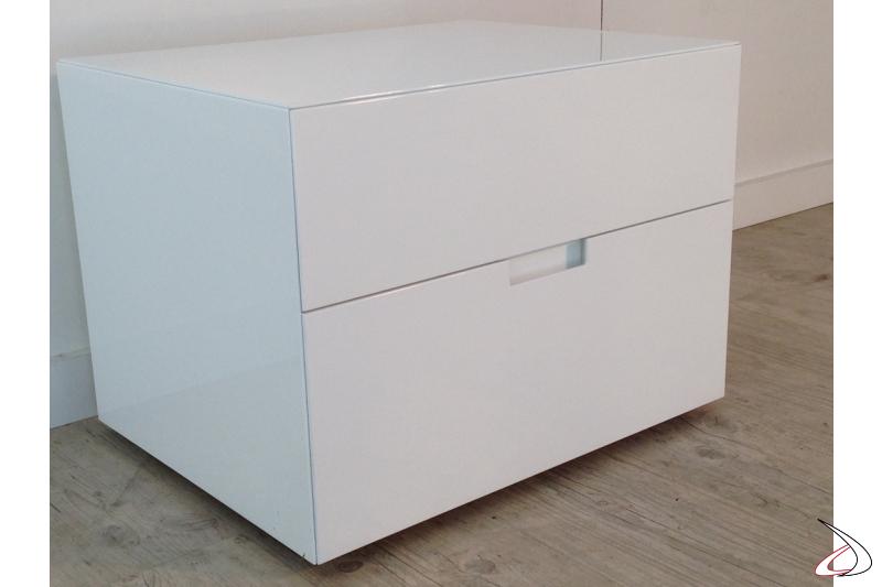 Comodino moderno Filo laccato bianco lucido