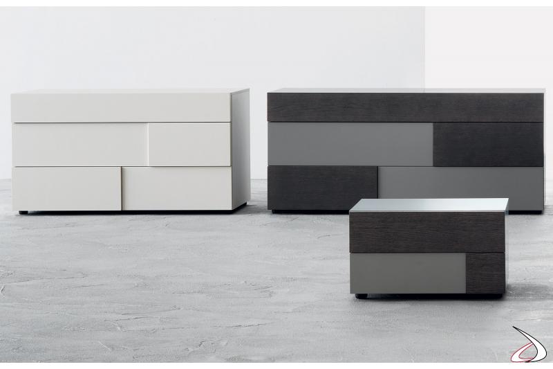 Gruppo letto moderno in legno