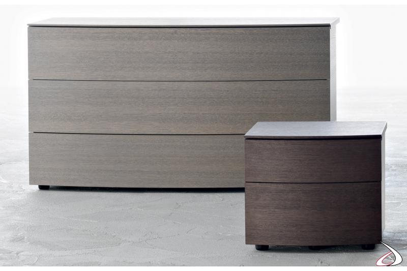Gruppo letto moderno in legno con cassetti curvi