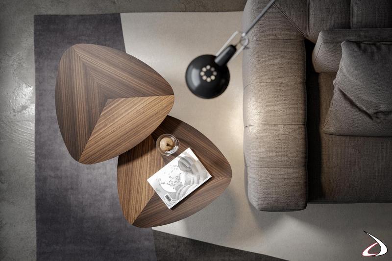 Tavolino alto da salotto di design con piano in legno di eucalipto con disegno geometrico intarsiato