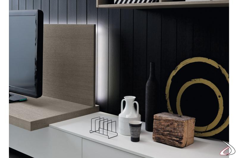 Illuminazione a led per pannello porta tv mobile soggiorno