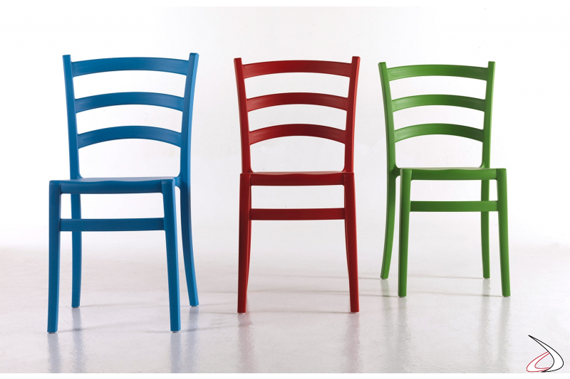Sedia colorate in polipropilene soft touch moderne da esterno impilabili