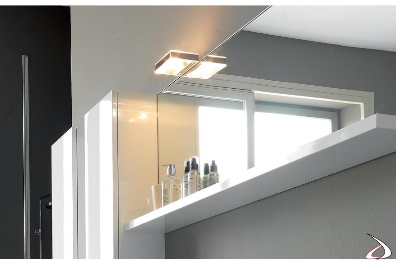 Specchiera design con mensola sotto specchio