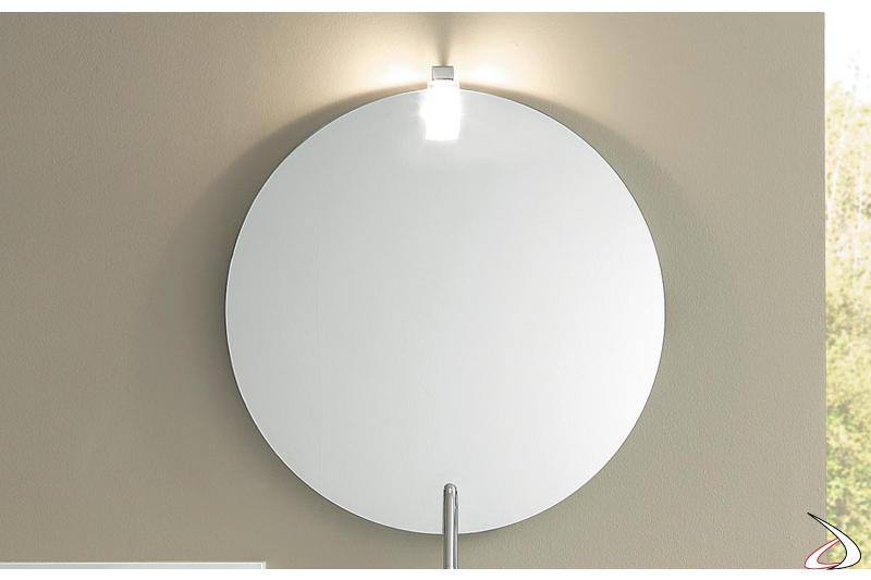 Specchiera rotonda da bagno con presa ed interruttore