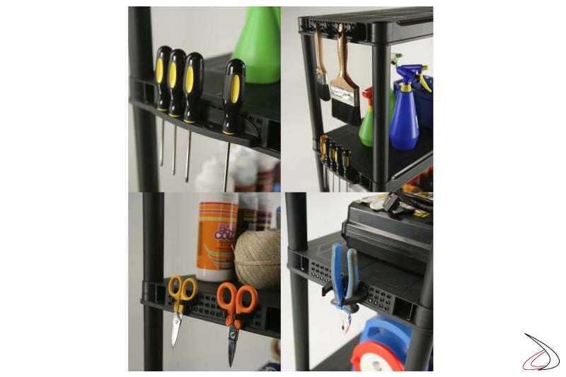 Scaffale per officina e garage con particolare porta accessori