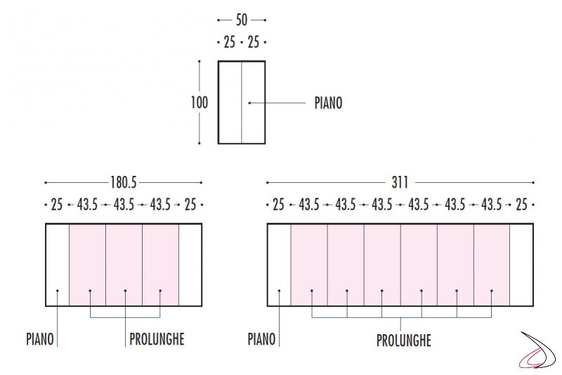 Misure tavolo consolle design allungabile