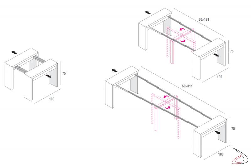 Misure consolle in legno moderna da soggiorno