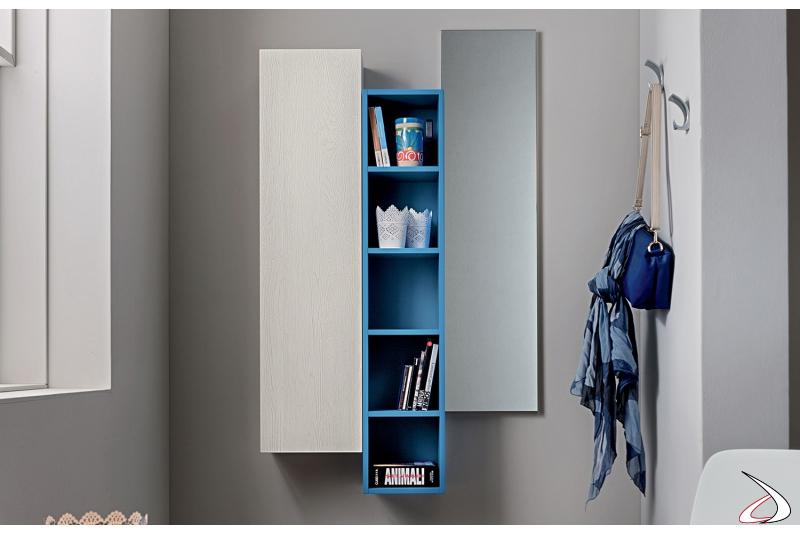 Mobile ingresso di design sospeso con libreria e pensile a giorno