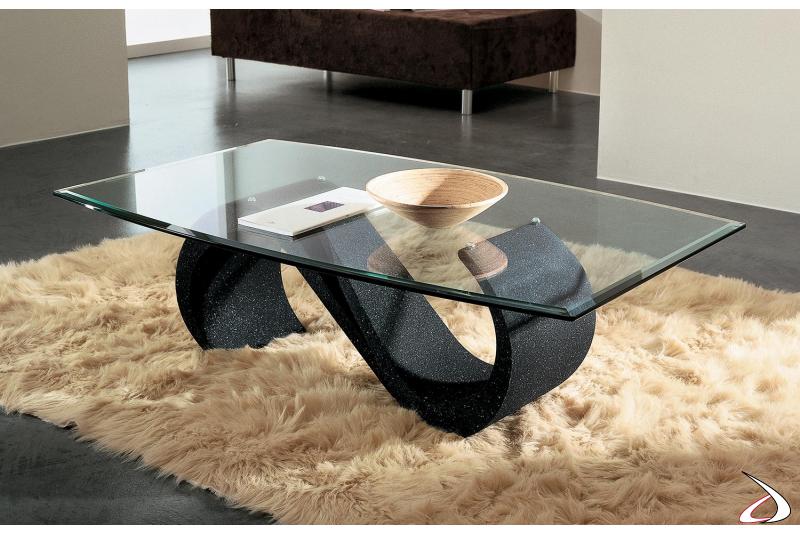 Tavolino a botte in vetro bisellato con basamento in marmo nero