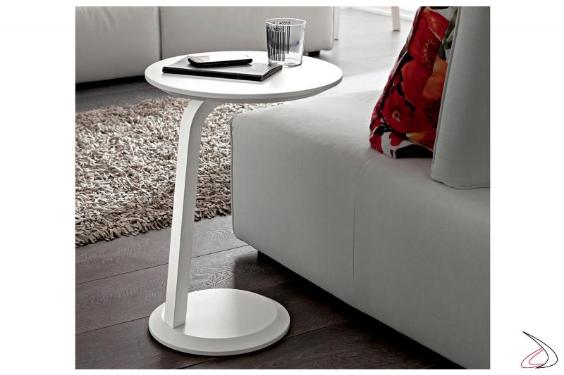 Tavolino rotondo bianco moderno da fianco divano senza bracciolo