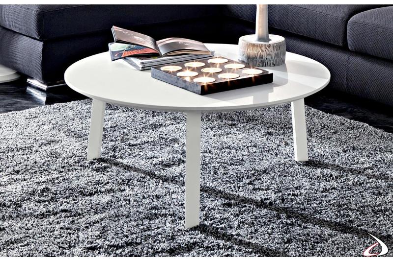 Tavolino bianco basso rotondo da salotto con 3 gambe