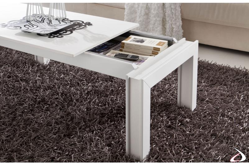 Tavolino rettangolare bianco contenitore
