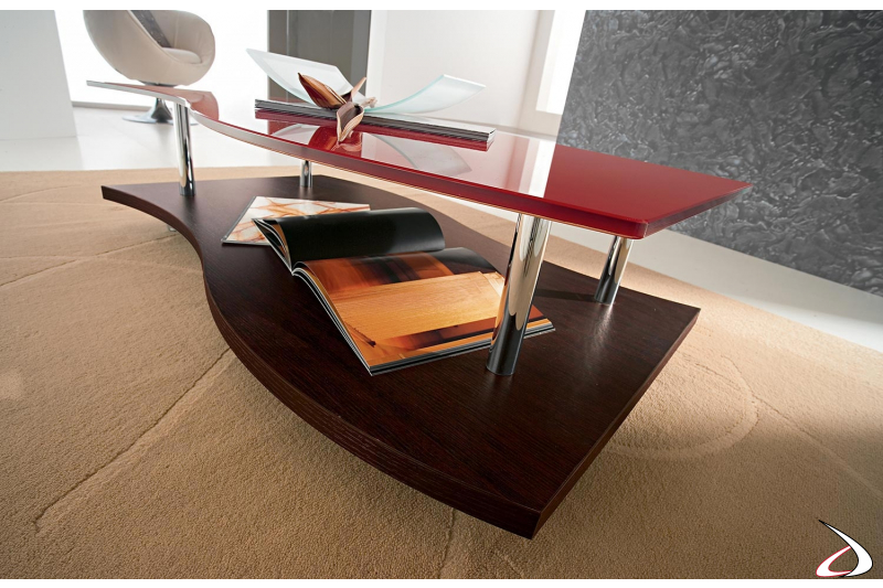 Tavolino moderno su ruote da salotto con piano doppio piano sagomato