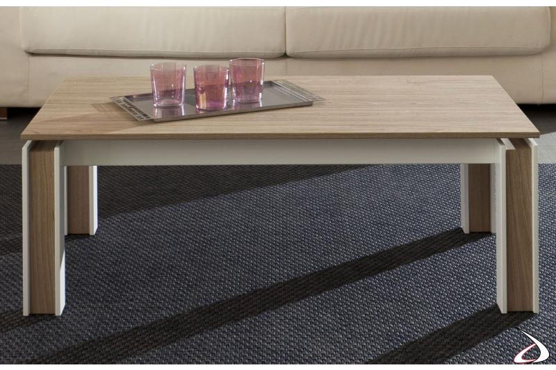 Tavolino moderno rettangolare in legno massiccio