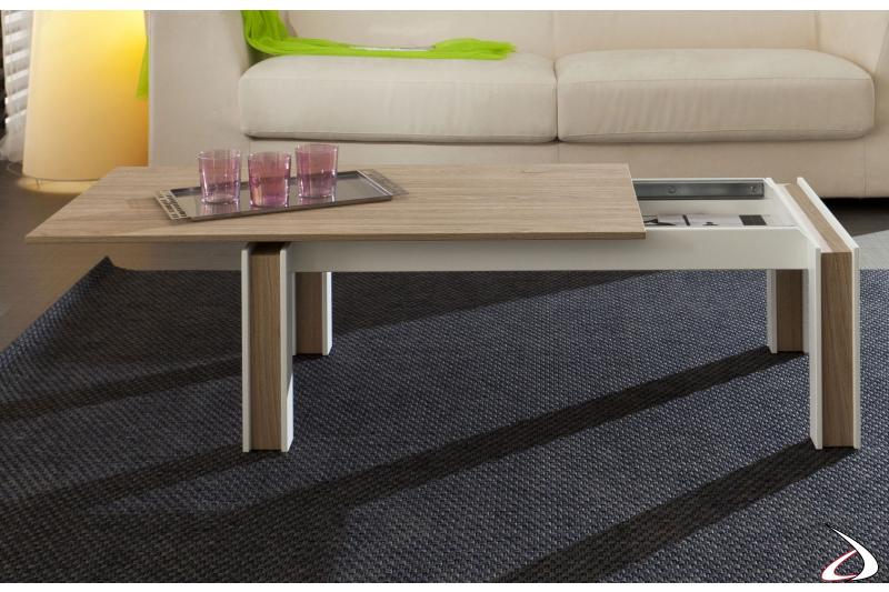 Tavolino basso con piano scorrevole in legno