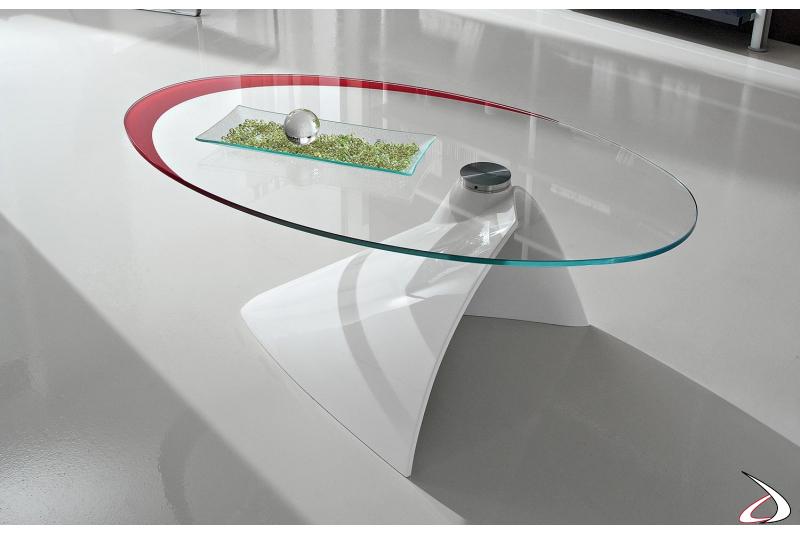 Tavolino ovale bianco in mineral marmo e vetro con cornice rossa