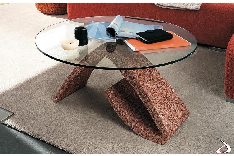 Tavolino rotondo da salotto in vetro con basamento in marmo
