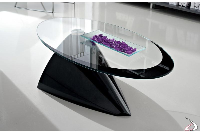 Tavolino ellittico nero con piano in vetro trasparente con cornice nera