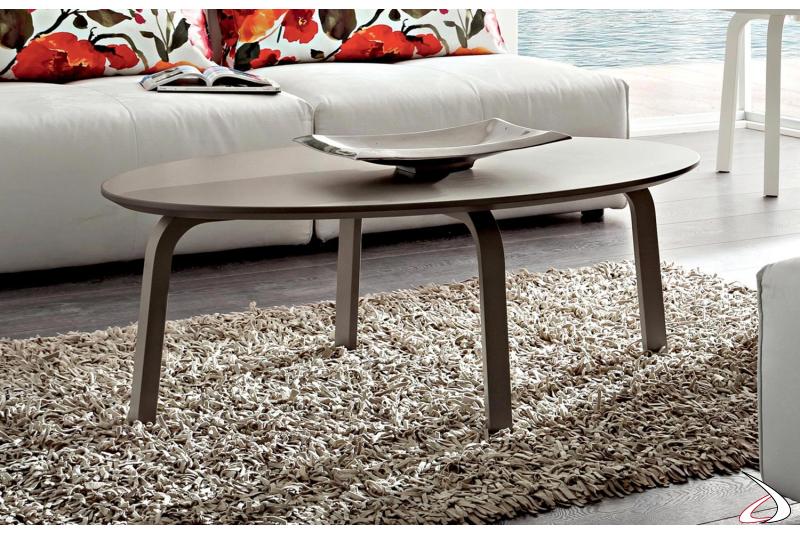 Tavolino ovale moderno basso in laccato opaco tortora
