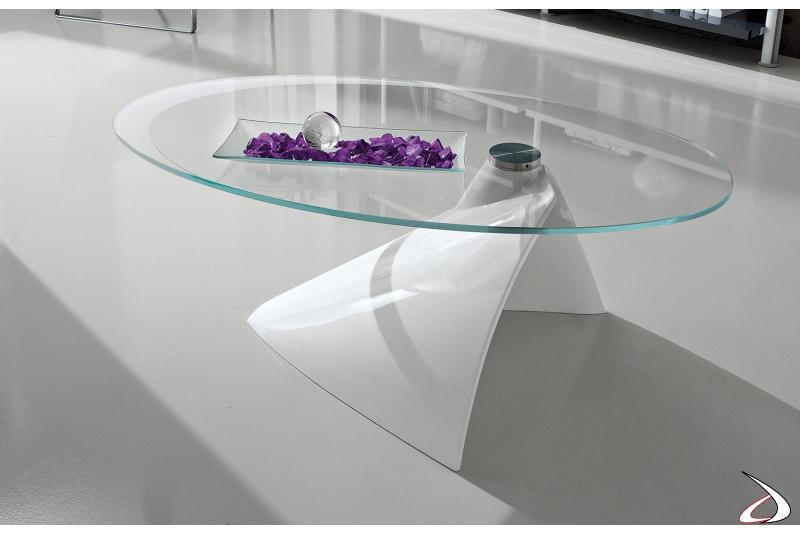 Tavolino moderno ellittico bianco lucido con piano in vetro trasparente
