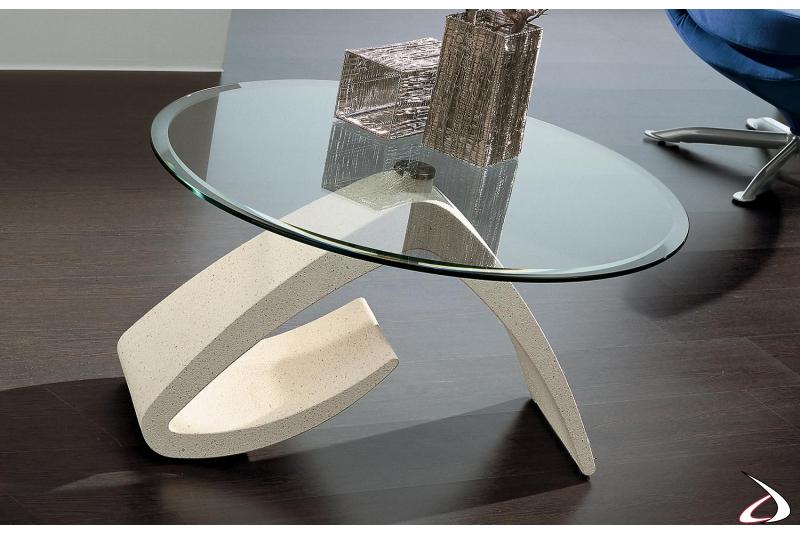 Tavolino rotondo moderno in vetro bisellato con basamento in marmo