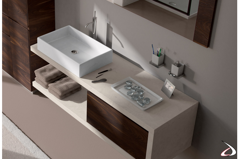 Lavabo soprapiano in ceramica bianca