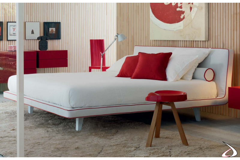 Modern bedroom white upholstered