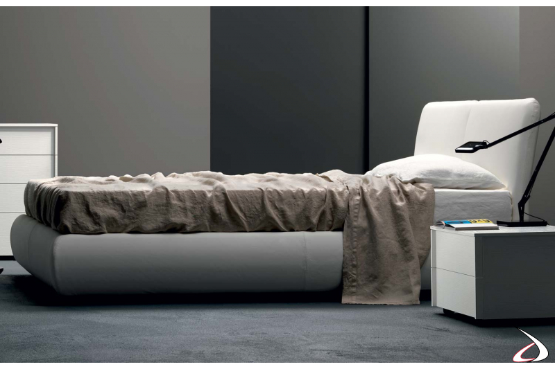 Modern double bed in faux leather