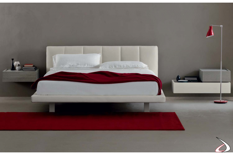 Contemporary leather double bed