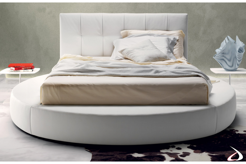 Upholstered round bed with storage