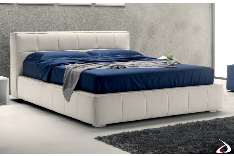 Contemporary bed upholstered with fabric container