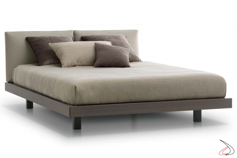 Contemporary wooden bed with adjustable headboard