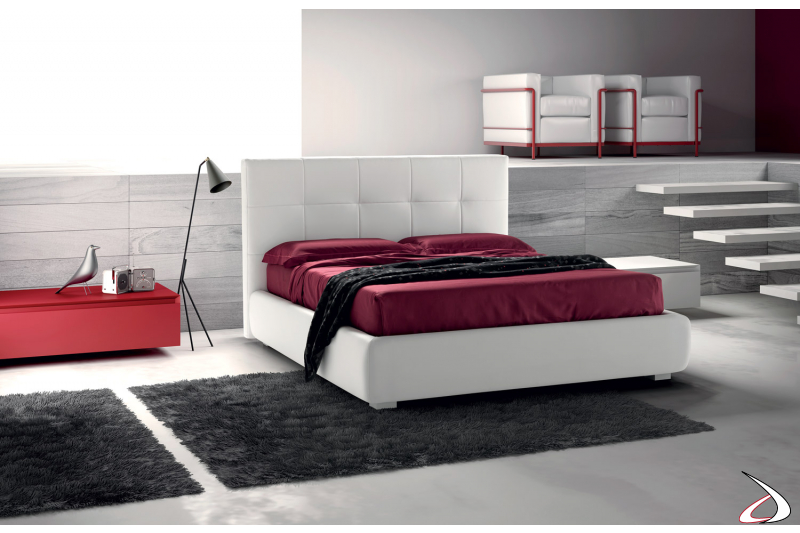 Modern bed with storage unit cover in white leather. Full size