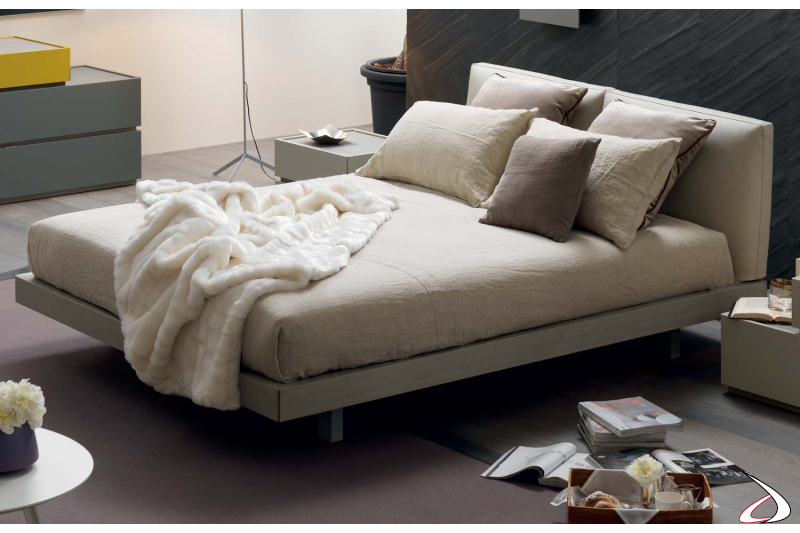 Modern double bed with adjustable headboard
