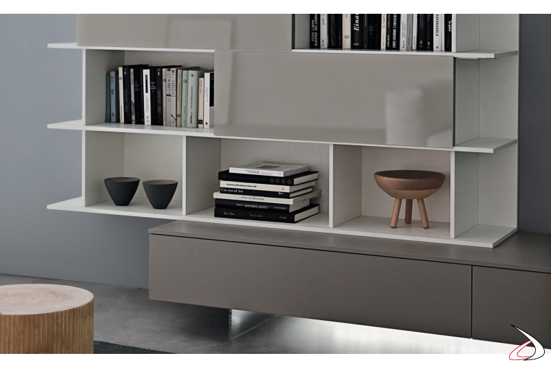 Hanging bookcase with sliding doors