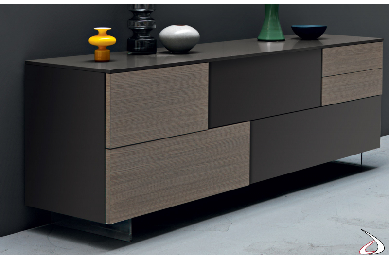 Madia design da soggiorno con ante e cassetti