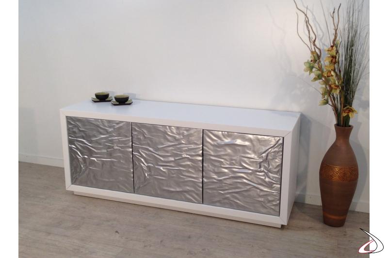 Madia moderna Ice tre ante metallo acciaio lucido e scocca laccato bianco opaco