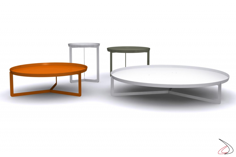 Round metal design tables